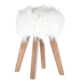 White Faux Fur Wood Stool